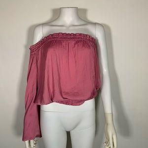 Bar III Top Blouse Pink One Shoulder Waist Sz M